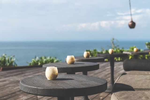 tables by the ocean